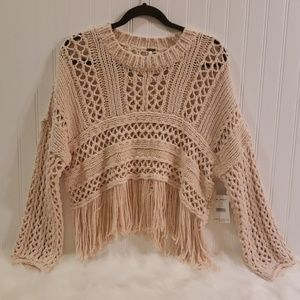 Free People Cream Boho Sweater